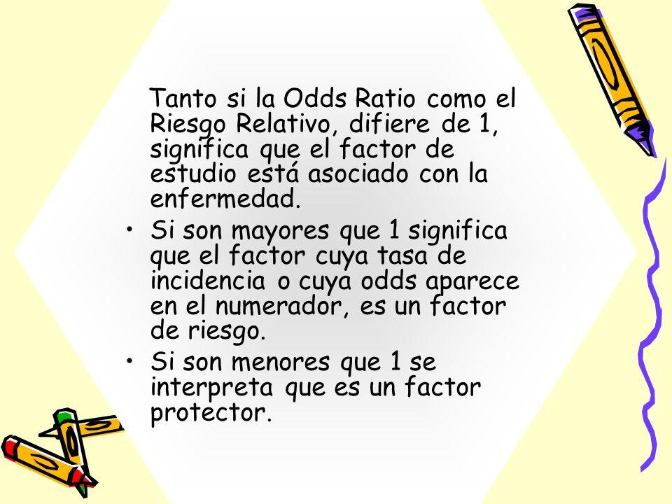 Tanto si la Odds Ratio como el Riesgo Relativo, difiere de 1, significa que el factor de estudio está asociado con la enfermedad. Si son mayores que 1