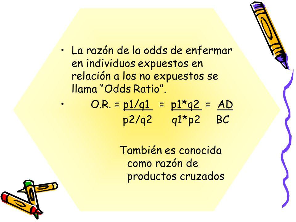 La razón de la odds de enfermar en individuos expuestos en relación a los no expuestos se llama Odds Ratio. O.R. = p1/q1 = p1*q2 = AD p2/q2 q1*p2 BC T