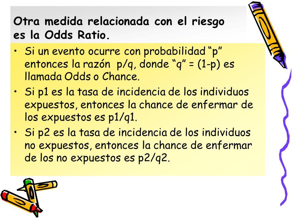 Otra medida relacionada con el riesgo es la Odds Ratio. Si un evento ocurre con probabilidad p entonces la razón p/q, donde q = (1-p) es llamada Odds