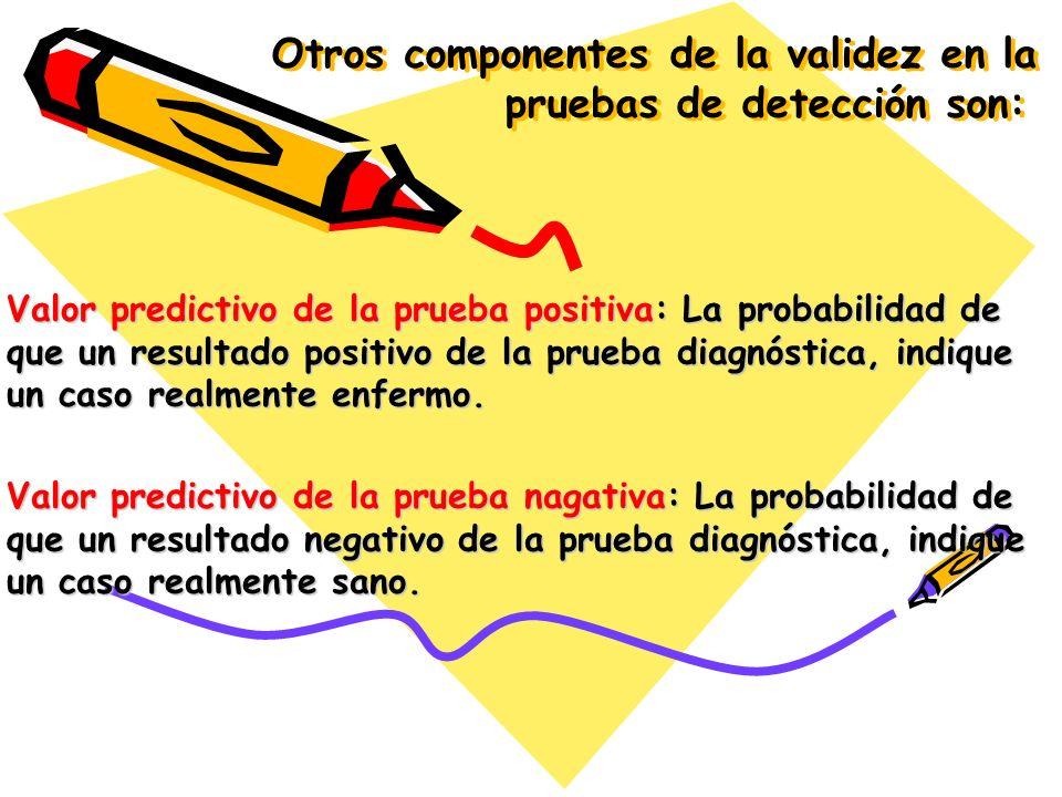 Otros componentes de la validez en la pruebas de detección son: Valor predictivo de la prueba positiva: La probabilidad de que un resultado positivo d