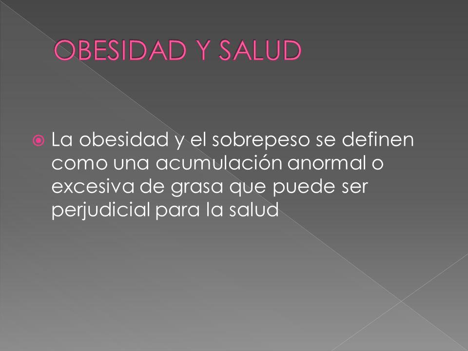 La obesidad y el sobrepeso se definen como una acumulación anormal o excesiva de grasa que puede ser perjudicial para la salud