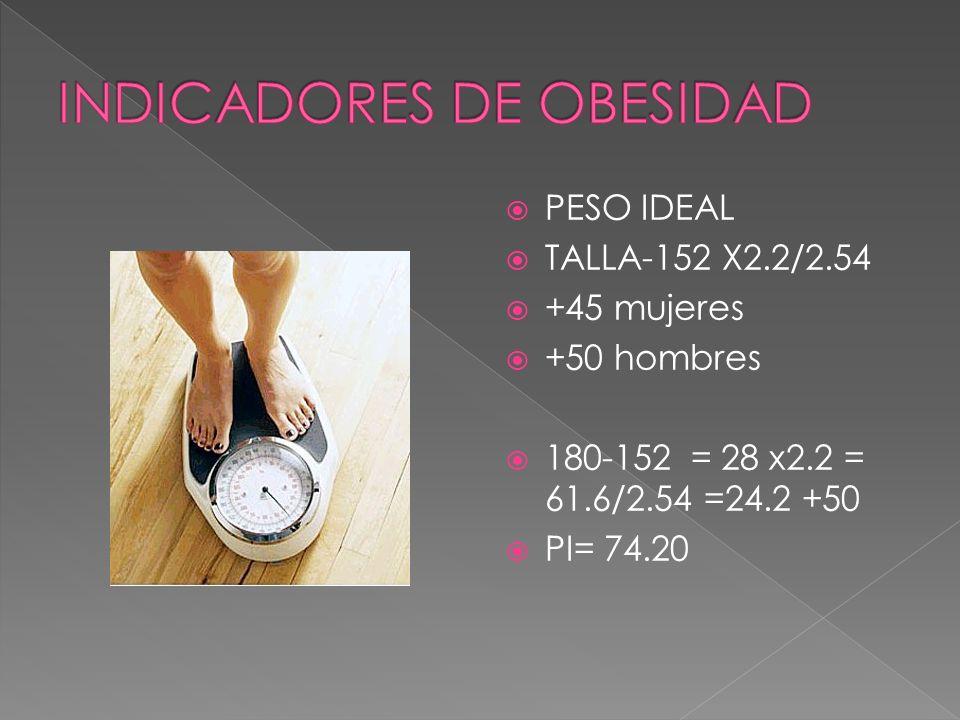 PESO IDEAL TALLA-152 X2.2/2.54 +45 mujeres +50 hombres 180-152 = 28 x2.2 = 61.6/2.54 =24.2 +50 PI= 74.20