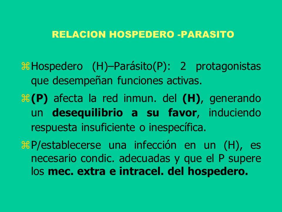 RELACION HOSPEDERO -PARASITO Hospedero (H)–Parásito(P): 2 protagonistas que desempeñan funciones activas. (P) afecta la red inmun. del (H), generando