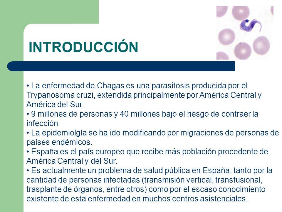INTRODUCCIÓN La enfermedad de Chagas es una parasitosis producida por el Trypanosoma cruzi, extendida principalmente por América Central y América del