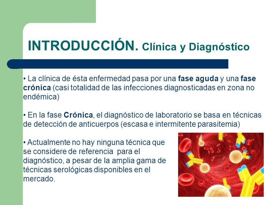 INTRODUCCIÓN. Clínica y Diagnóstico La clínica de ésta enfermedad pasa por una fase aguda y una fase crónica (casi totalidad de las infecciones diagno