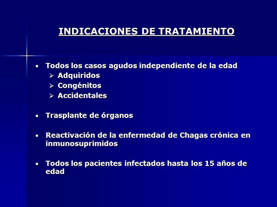 INDICACIONES DE TRATAMIENTO Todos los casos agudos independiente de la edad Todos los casos agudos independiente de la edad Adquiridos Adquiridos Cong