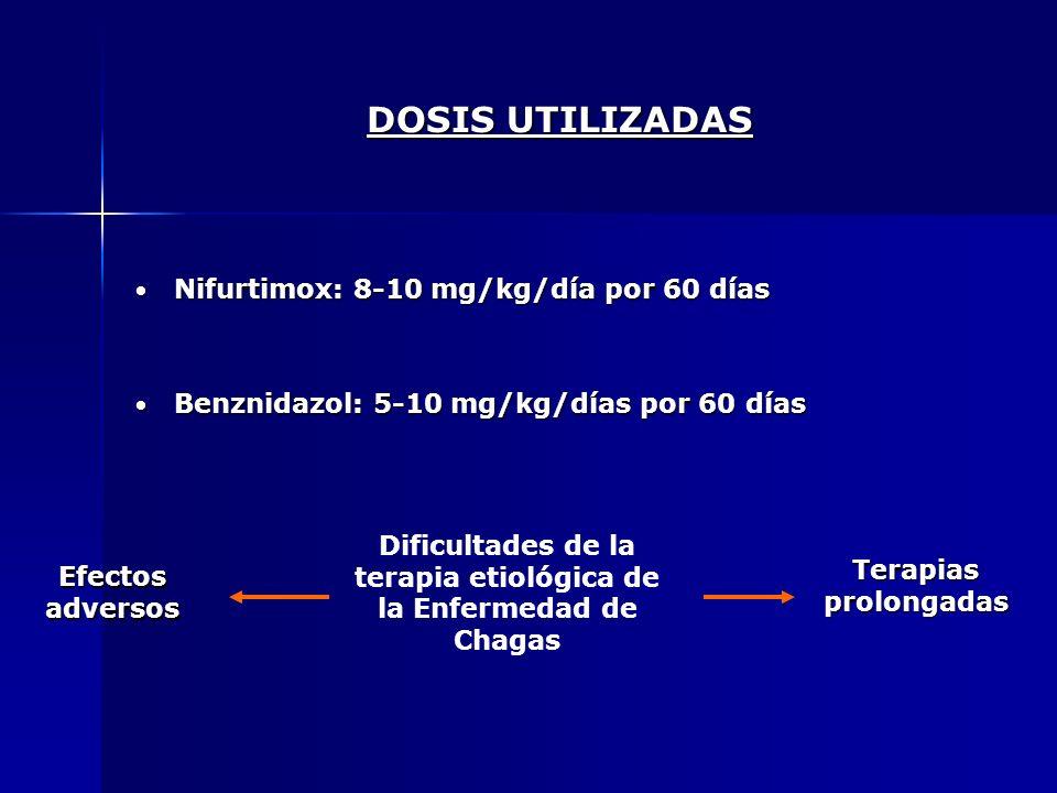 DOSIS UTILIZADAS Nifurtimox: 8-10 mg/kg/día por 60 días Nifurtimox: 8-10 mg/kg/día por 60 días Benznidazol: 5-10 mg/kg/días por 60 días Benznidazol: 5
