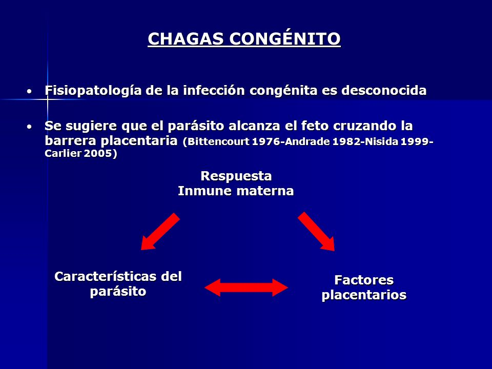 Respuesta Inmune materna Características del parásito Factores placentarios Fisiopatología de la infección congénita es desconocida Fisiopatología de