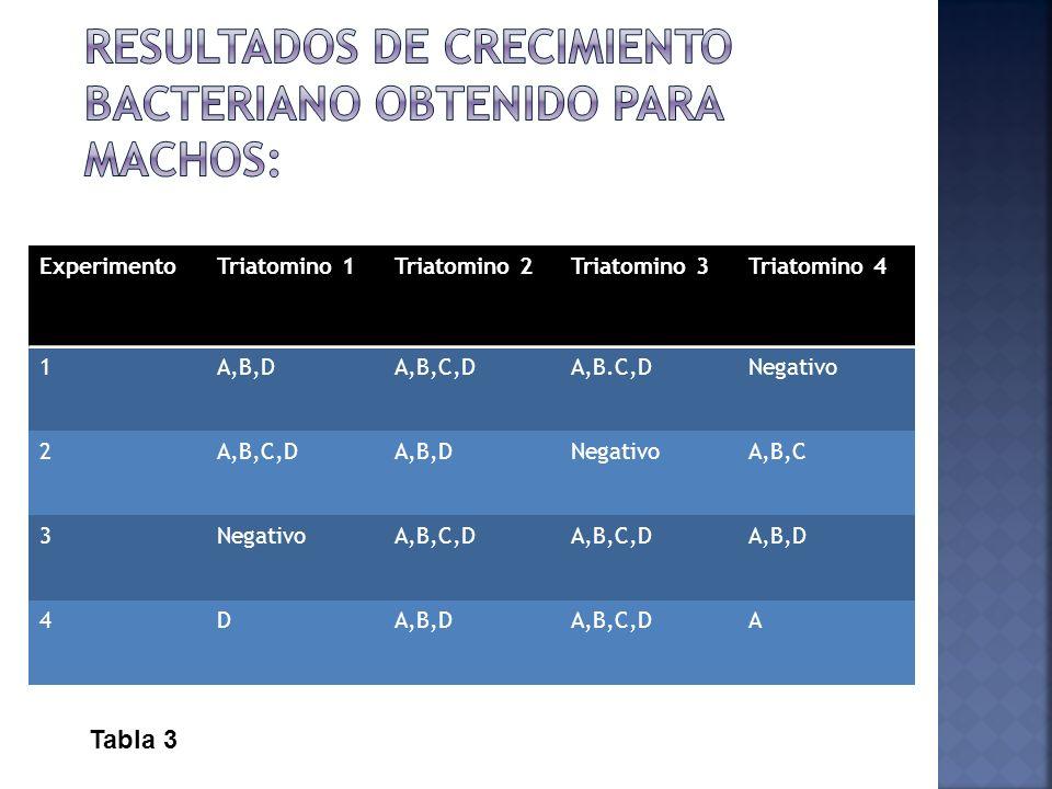 ExperimentoTriatomino 1Triatomino 2Triatomino 3Triatomino 4 1A,B,DA,B,C,DA,B.C,DNegativo 2A,B,C,DA,B,DNegativoA,B,C 3NegativoA,B,C,D A,B,D 4D A,B,C,DA