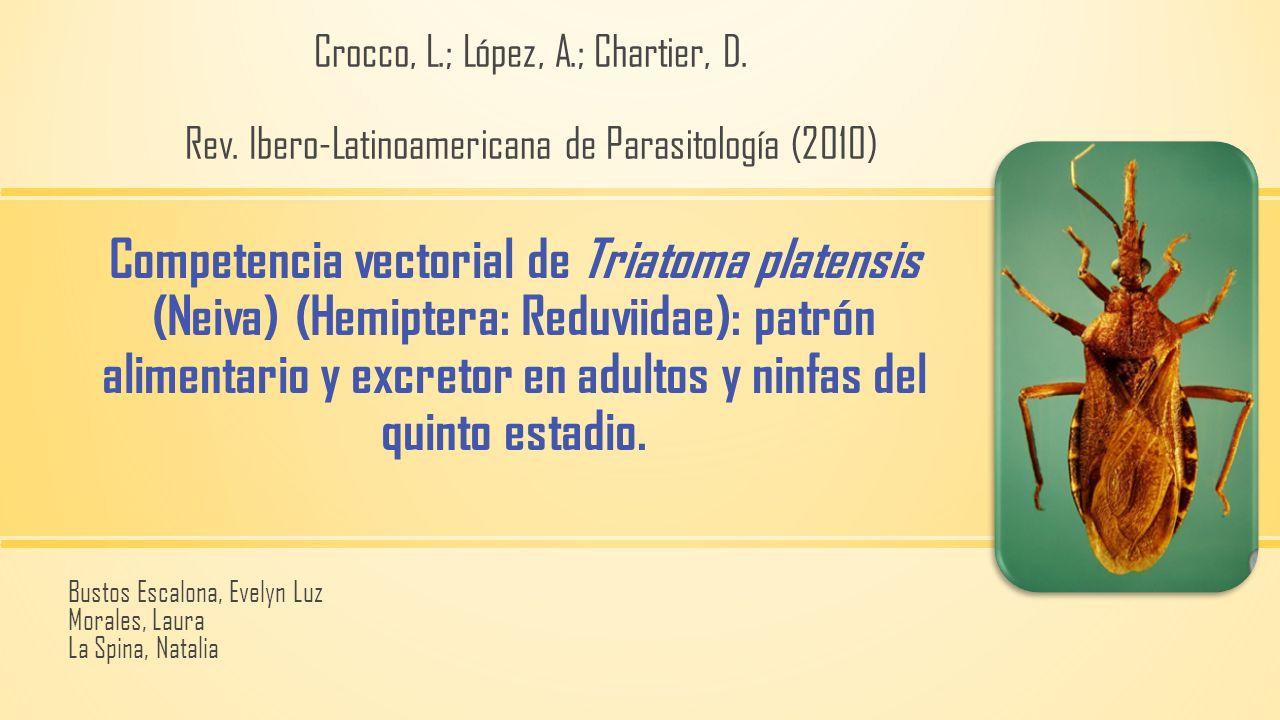 Competencia vectorial de Triatoma platensis (Neiva) (Hemiptera: Reduviidae): patrón alimentario y excretor en adultos y ninfas del quinto estadio. Bus