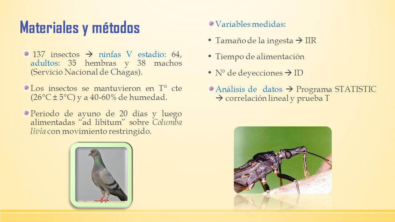 Materiales y métodos 137 insectos ninfas V estadio: 64, adultos: 35 hembras y 38 machos (Servicio Nacional de Chagas). Los insectos se mantuvieron en