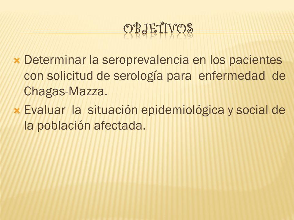 Determinar la seroprevalencia en los pacientes con solicitud de serología para enfermedad de Chagas-Mazza. Evaluar la situación epidemiológica y socia
