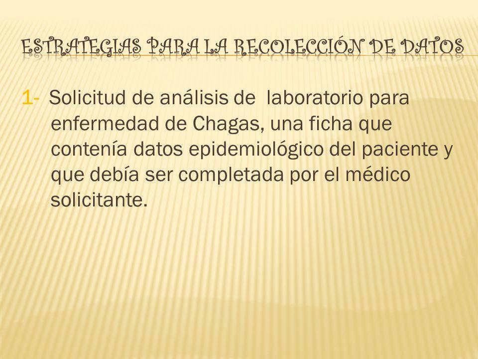 1- Solicitud de análisis de laboratorio para enfermedad de Chagas, una ficha que contenía datos epidemiológico del paciente y que debía ser completada por el médico solicitante.