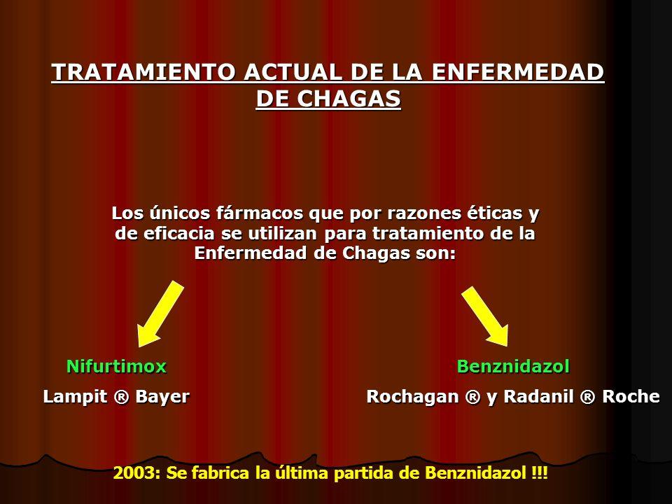 Los únicos fármacos que por razones éticas y de eficacia se utilizan para tratamiento de la Enfermedad de Chagas son: Nifurtimox Lampit ® Bayer Benzni