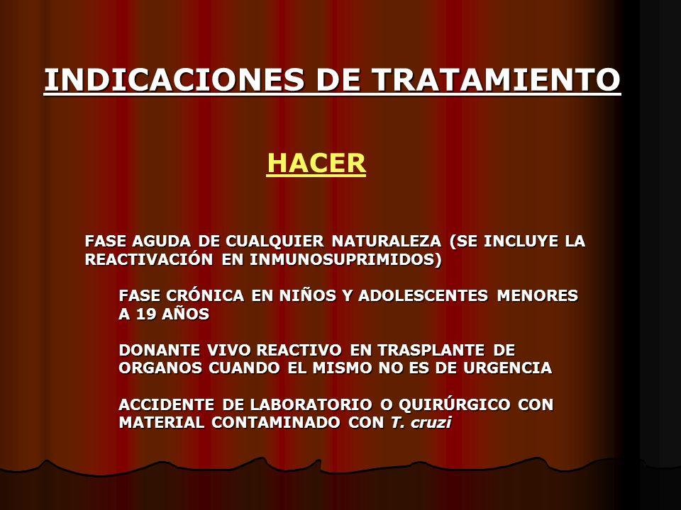 INDICACIONES DE TRATAMIENTO FASE AGUDA DE CUALQUIER NATURALEZA (SE INCLUYE LA REACTIVACIÓN EN INMUNOSUPRIMIDOS) FASE CRÓNICA EN NIÑOS Y ADOLESCENTES M