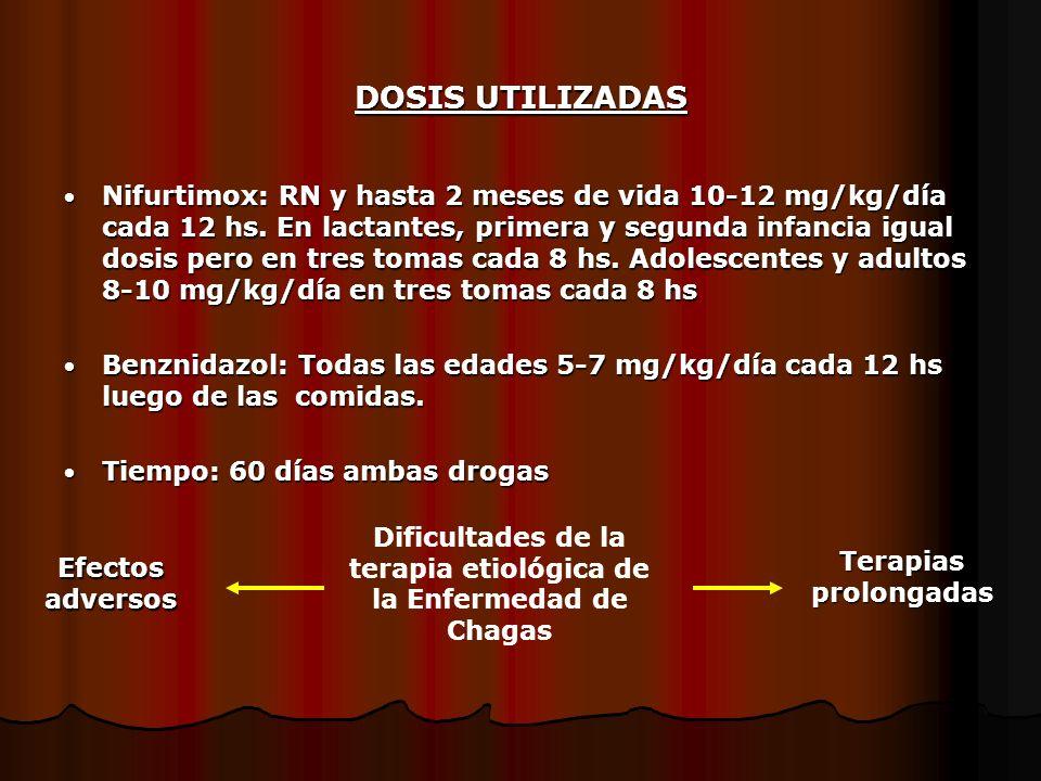 DOSIS UTILIZADAS Nifurtimox: RN y hasta 2 meses de vida 10-12 mg/kg/día cada 12 hs. En lactantes, primera y segunda infancia igual dosis pero en tres