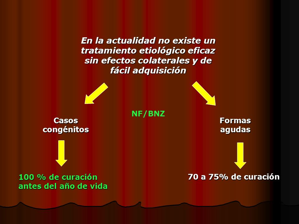 En la actualidad no existe un tratamiento etiológico eficaz sin efectos colaterales y de fácil adquisición Formas agudas Casos congénitos 70 a 75% de