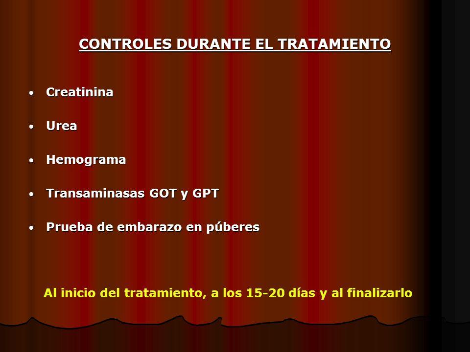 CONTROLES DURANTE EL TRATAMIENTO Creatinina Creatinina Urea Urea Hemograma Hemograma Transaminasas GOT y GPT Transaminasas GOT y GPT Prueba de embaraz