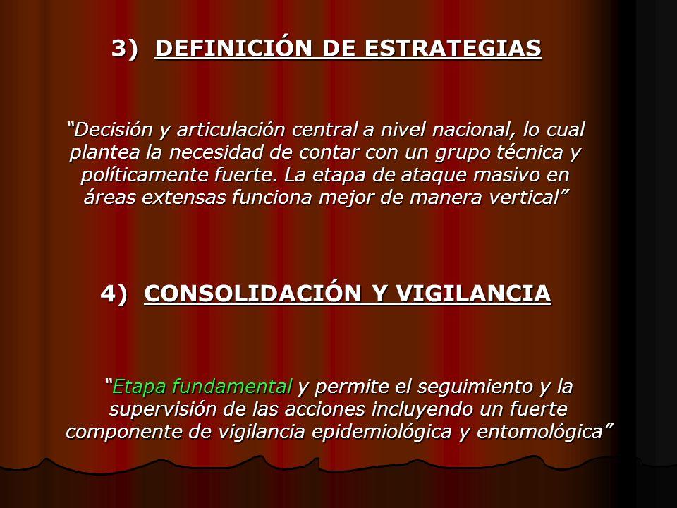 3) DEFINICIÓN DE ESTRATEGIAS Decisión y articulación central a nivel nacional, lo cual plantea la necesidad de contar con un grupo técnica y políticam
