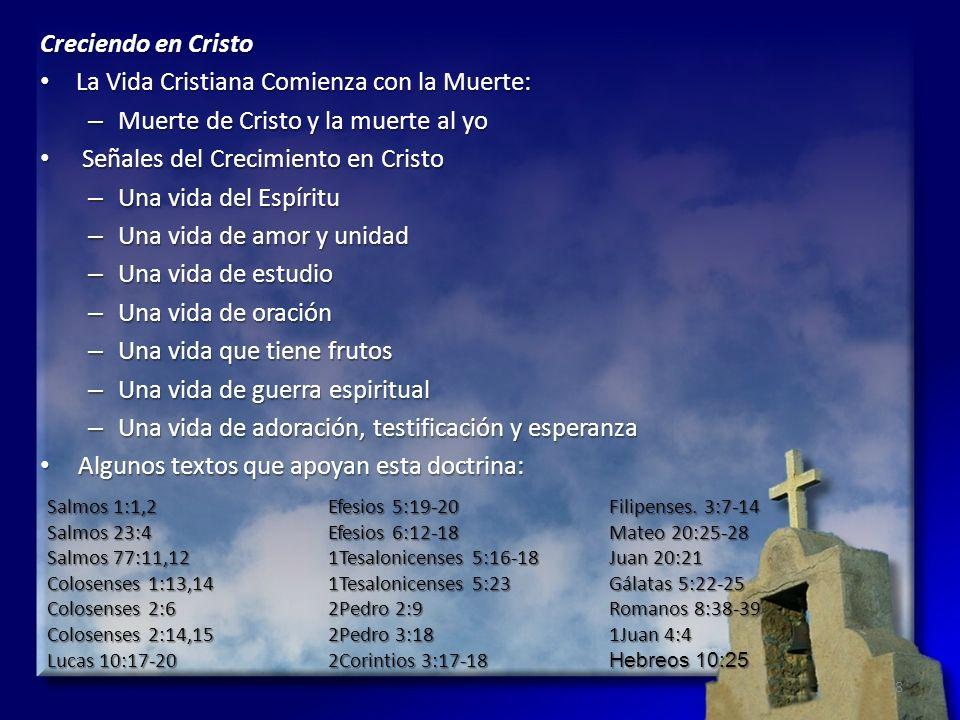 Creciendo en Cristo La Vida Cristiana Comienza con la Muerte: La Vida Cristiana Comienza con la Muerte: – Muerte de Cristo y la muerte al yo Señales d