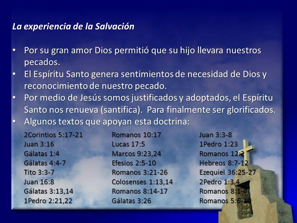 La experiencia de la Salvación Por su gran amor Dios permitió que su hijo llevara nuestros pecados. Por su gran amor Dios permitió que su hijo llevara