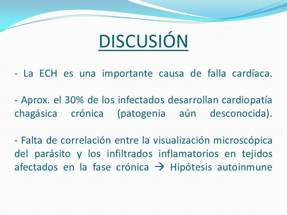 DISCUSIÓN - La ECH es una importante causa de falla cardíaca. - Aprox. el 30% de los infectados desarrollan cardiopatía chagásica crónica (patogenia a