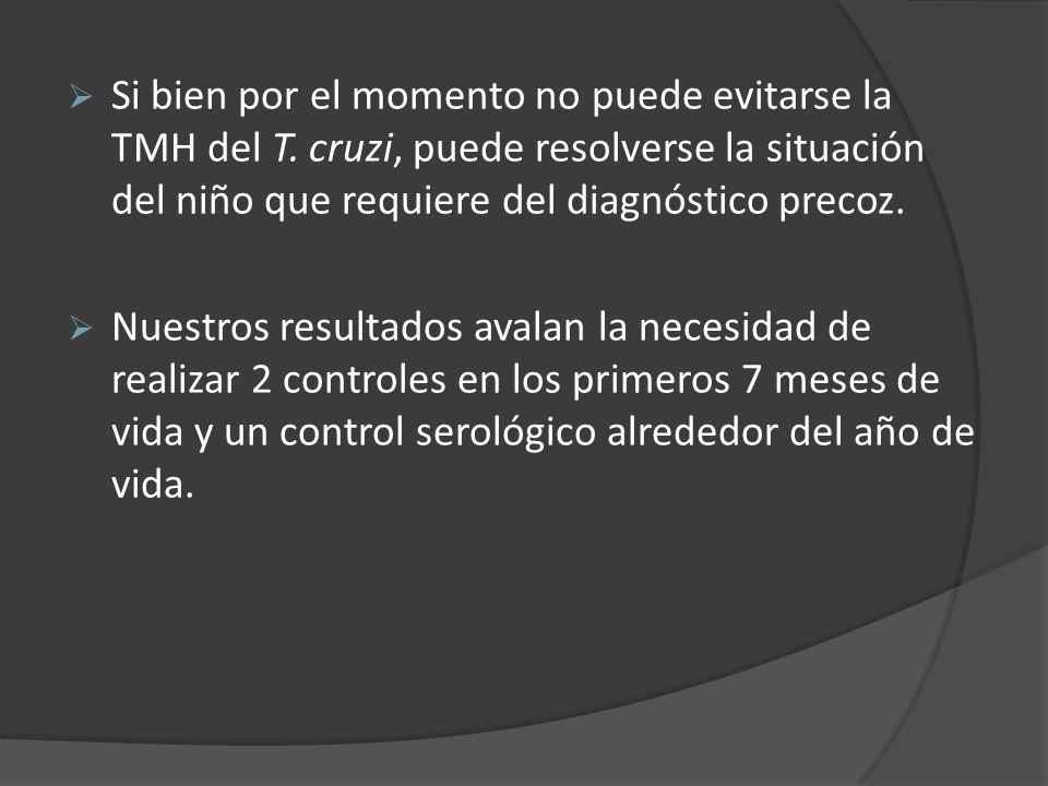 Si bien por el momento no puede evitarse la TMH del T. cruzi, puede resolverse la situación del niño que requiere del diagnóstico precoz. Nuestros res