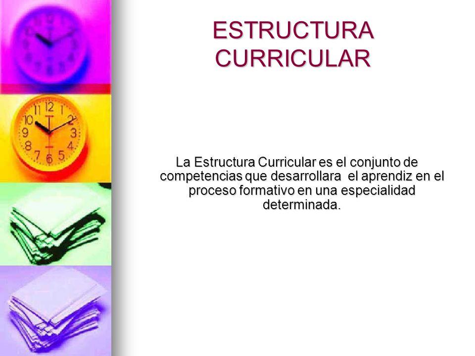 ESTRUCTURA CURRICULAR La Estructura Curricular es el conjunto de competencias que desarrollara el aprendiz en el proceso formativo en una especialidad