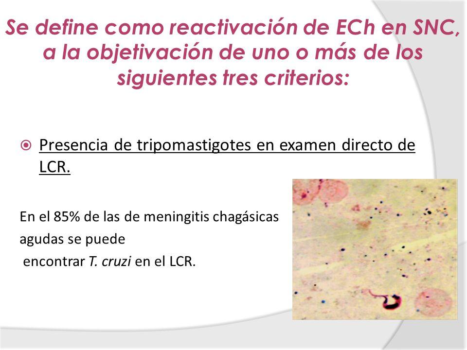 Se define como reactivación de ECh en SNC, a la objetivación de uno o más de los siguientes tres criterios: Presencia de tripomastigotes en examen dir