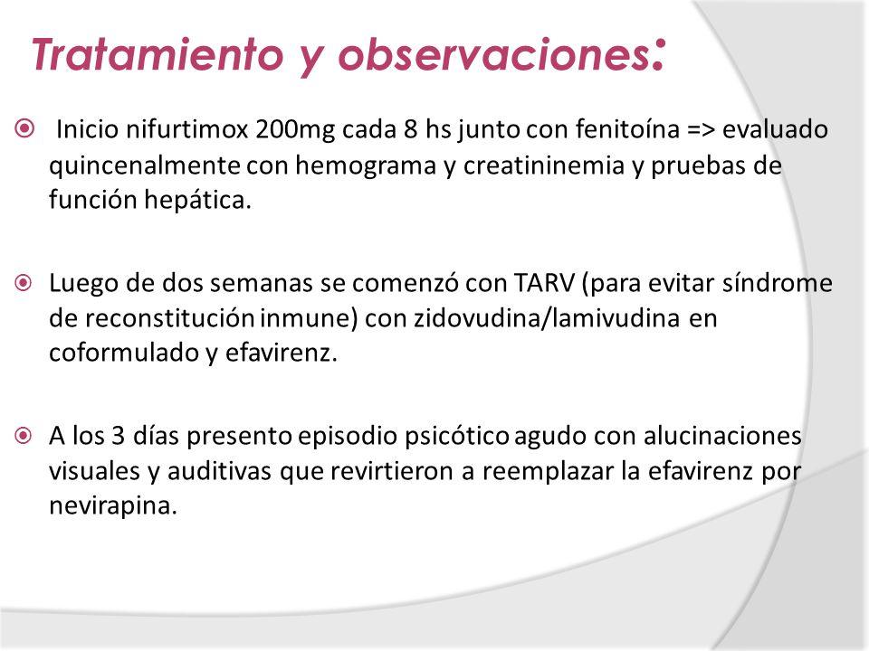 Tratamiento y observaciones : Inicio nifurtimox 200mg cada 8 hs junto con fenitoína => evaluado quincenalmente con hemograma y creatininemia y pruebas