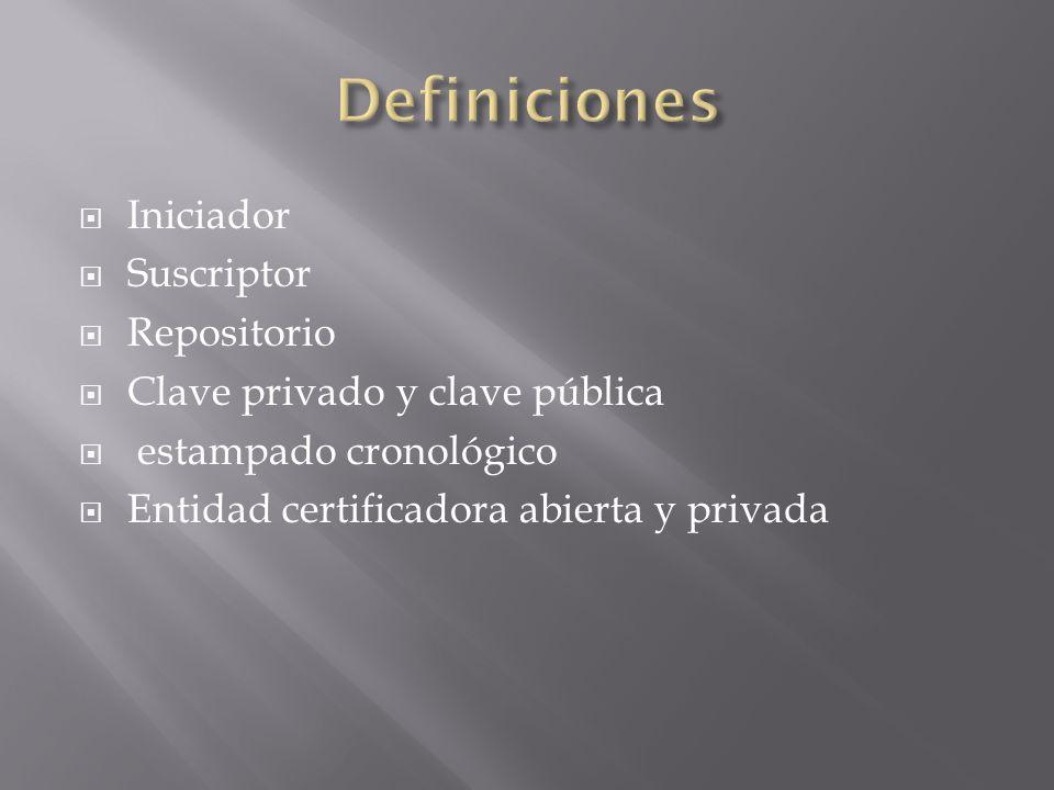 Iniciador Suscriptor Repositorio Clave privado y clave pública estampado cronológico Entidad certificadora abierta y privada