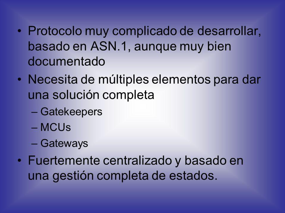 H.323 SIP H.323 Protocolo desarrollado por el ITU-T para la interconexión de dispositivos de videoconferencia a través de redes IP Implementado en muc
