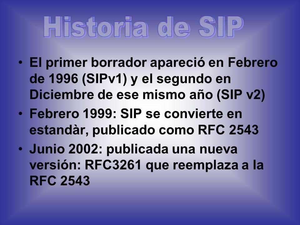 SIP usa una única petición para enviar toda la información requerida SIP usa RTP y UDP para transportar el tráfico de voz real (al igual que H.323) El