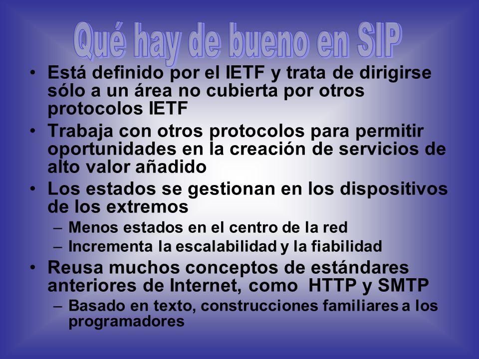 El primer borrador apareció en Febrero de 1996 (SIPv1) y el segundo en Diciembre de ese mismo año (SIP v2) Febrero 1999: SIP se convierte en estandàr,