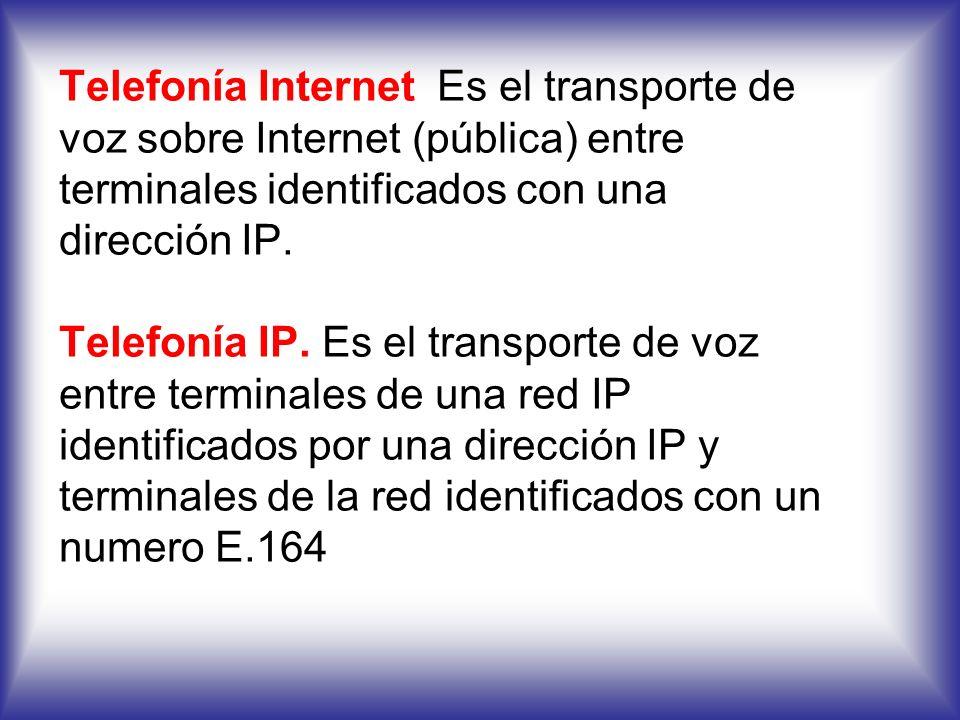 VoIP: Es un termino genérico para la prestación del servicio y el transporte de voz mediante el uso de IP como tecnología de enrutamiento y transmisió