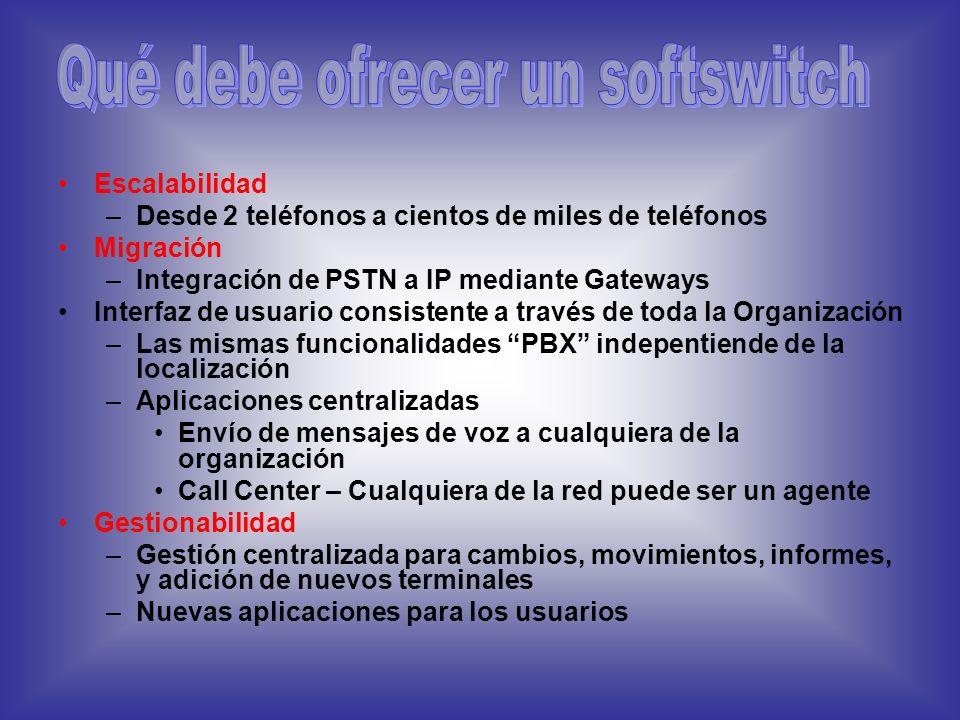 Qué es un Soft switch Un soft switch es un dispositivo que proporciona: –Inteligencia que controla los servicios de conexión para los Media Gatewayw,