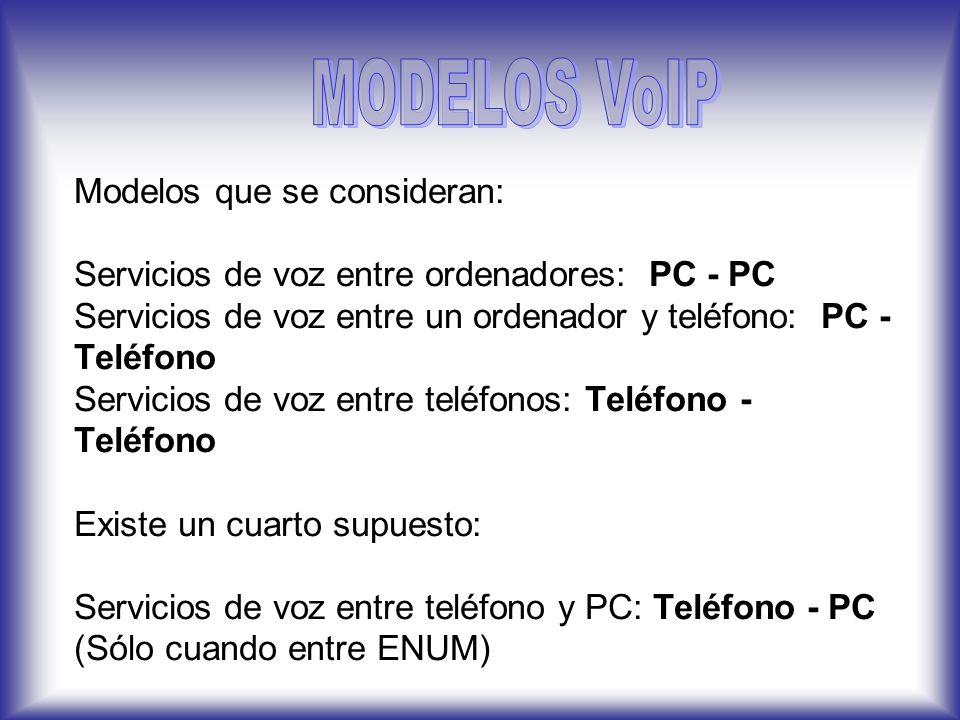 Modelos que se consideran: Servicios de voz entre ordenadores: PC - PC Servicios de voz entre un ordenador y teléfono: PC - Teléfono Servicios de voz entre teléfonos: Teléfono - Teléfono Existe un cuarto supuesto: Servicios de voz entre teléfono y PC: Teléfono - PC (Sólo cuando entre ENUM)
