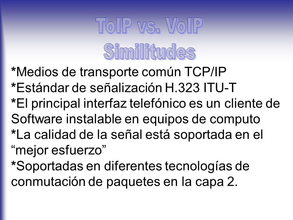 *Medios de transporte común TCP/IP *Estándar de señalización H.323 ITU-T *El principal interfaz telefónico es un cliente de Software instalable en equipos de computo *La calidad de la señal está soportada en el mejor esfuerzo *Soportadas en diferentes tecnologías de conmutación de paquetes en la capa 2.
