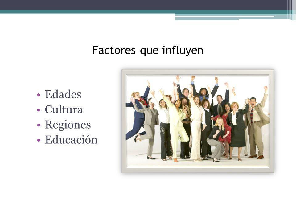 Factores que influyen Edades Cultura Regiones Educación