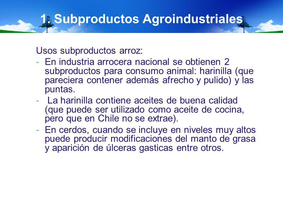 1. Subproductos Agroindustriales Usos subproductos arroz: -En industria arrocera nacional se obtienen 2 subproductos para consumo animal: harinilla (q