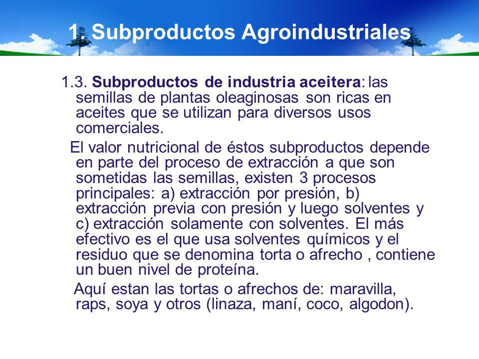 1. Subproductos Agroindustriales 1.3. Subproductos de industria aceitera: las semillas de plantas oleaginosas son ricas en aceites que se utilizan par