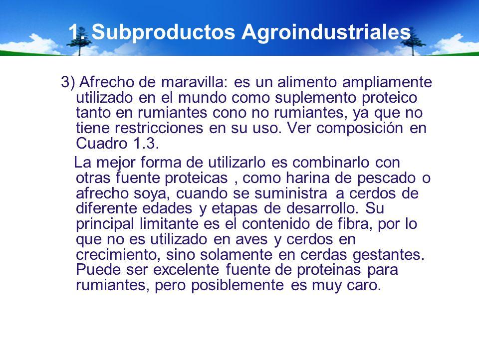 1. Subproductos Agroindustriales 3) Afrecho de maravilla: es un alimento ampliamente utilizado en el mundo como suplemento proteico tanto en rumiantes