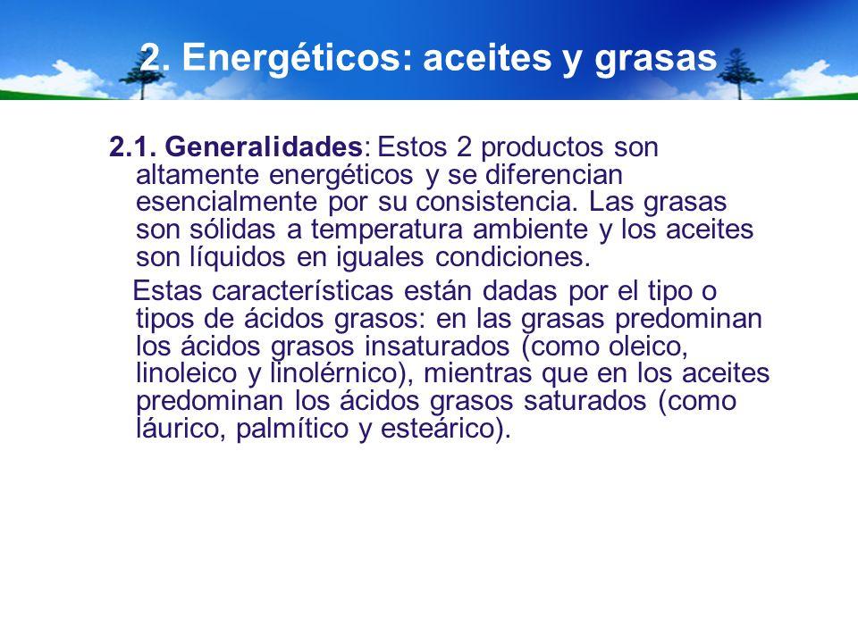 2. Energéticos: aceites y grasas 2.1. Generalidades: Estos 2 productos son altamente energéticos y se diferencian esencialmente por su consistencia. L