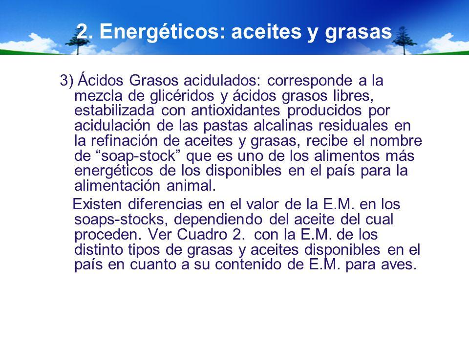 2. Energéticos: aceites y grasas 3) Ácidos Grasos acidulados: corresponde a la mezcla de glicéridos y ácidos grasos libres, estabilizada con antioxida