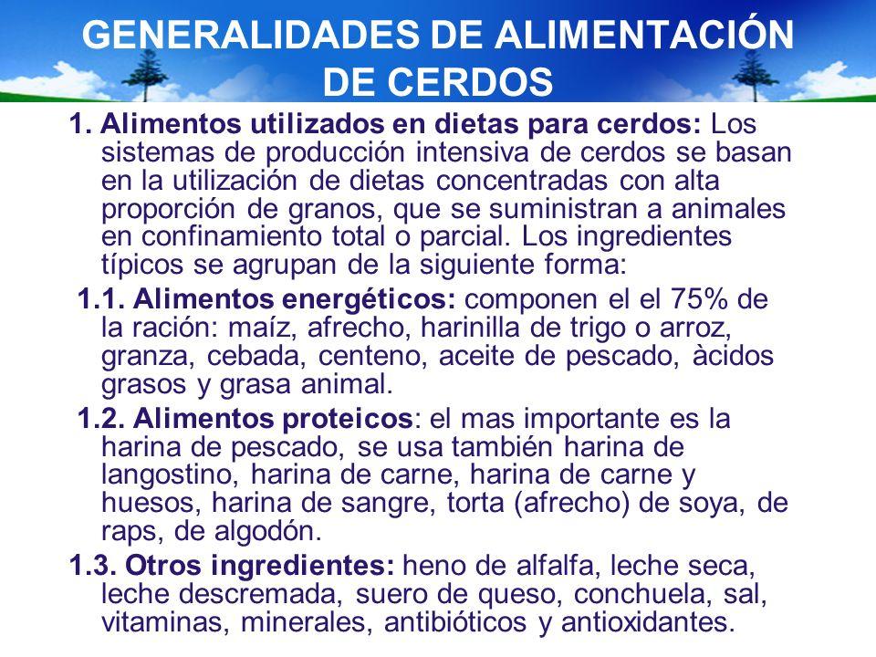 GENERALIDADES DE ALIMENTACIÓN DE CERDOS 1. Alimentos utilizados en dietas para cerdos: Los sistemas de producción intensiva de cerdos se basan en la u