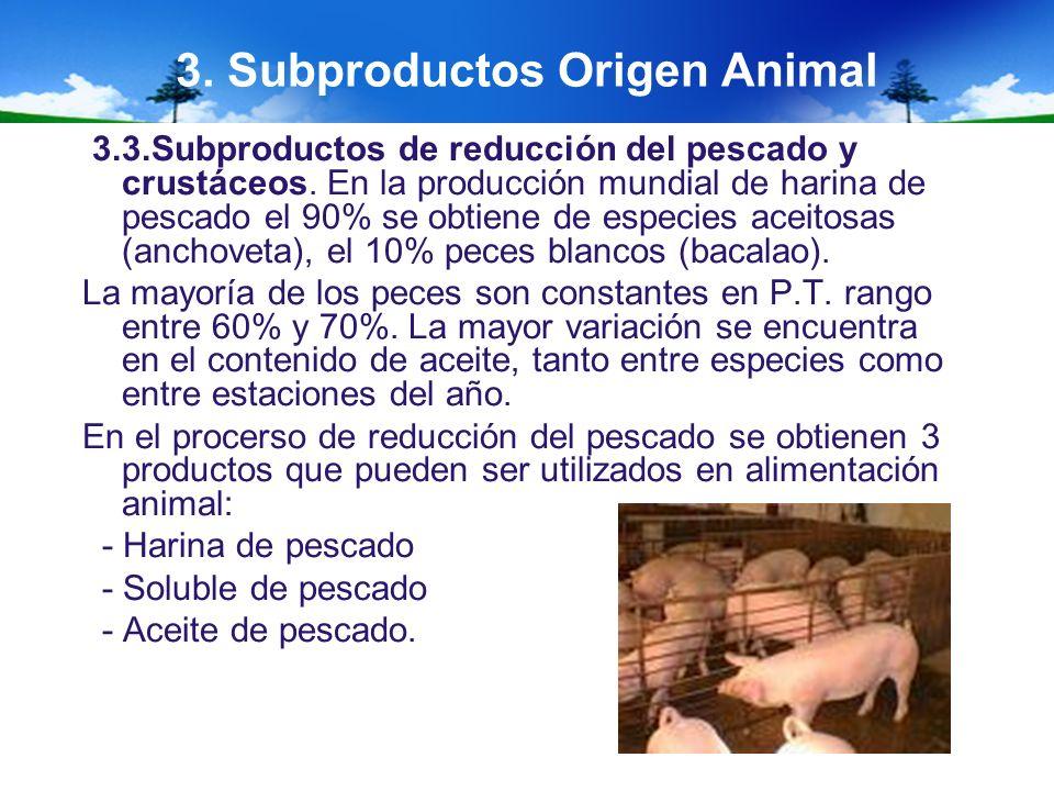3. Subproductos Origen Animal 3.3.Subproductos de reducción del pescado y crustáceos. En la producción mundial de harina de pescado el 90% se obtiene