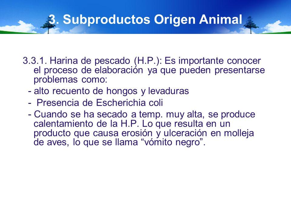 3. Subproductos Origen Animal 3.3.1. Harina de pescado (H.P.): Es importante conocer el proceso de elaboración ya que pueden presentarse problemas com