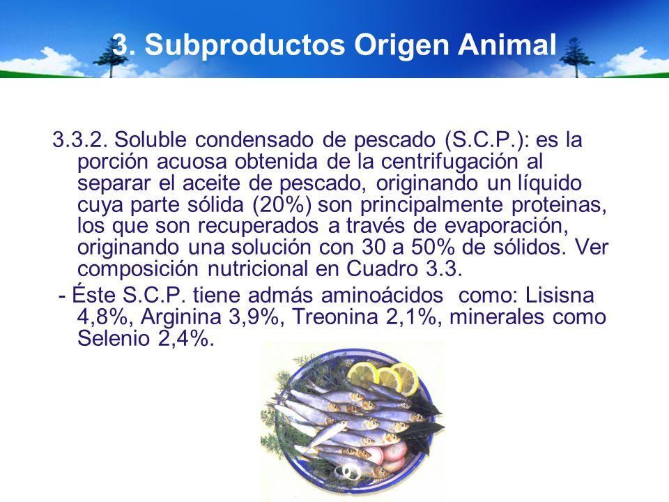 3. Subproductos Origen Animal 3.3.2. Soluble condensado de pescado (S.C.P.): es la porción acuosa obtenida de la centrifugación al separar el aceite d