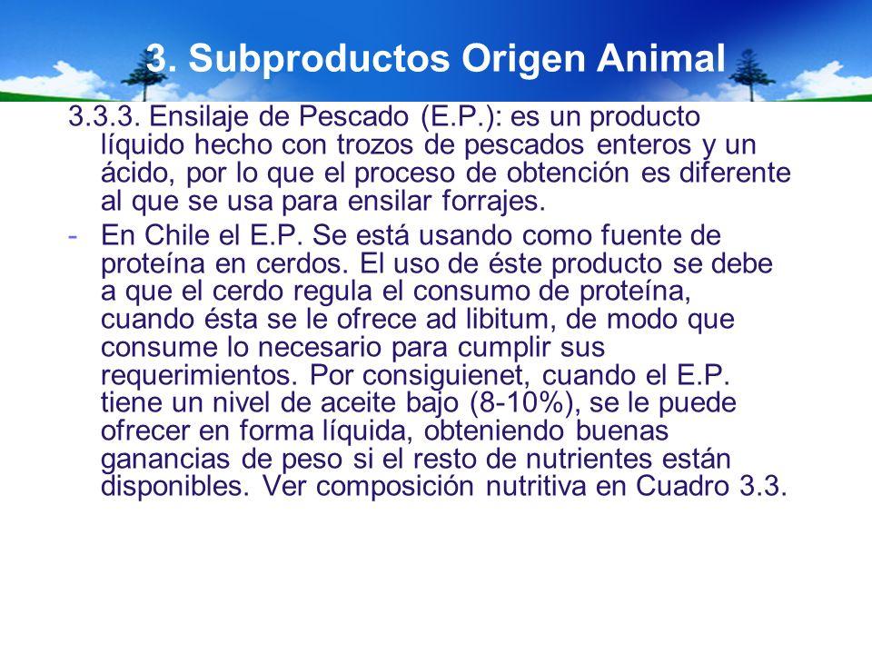 3. Subproductos Origen Animal 3.3.3. Ensilaje de Pescado (E.P.): es un producto líquido hecho con trozos de pescados enteros y un ácido, por lo que el