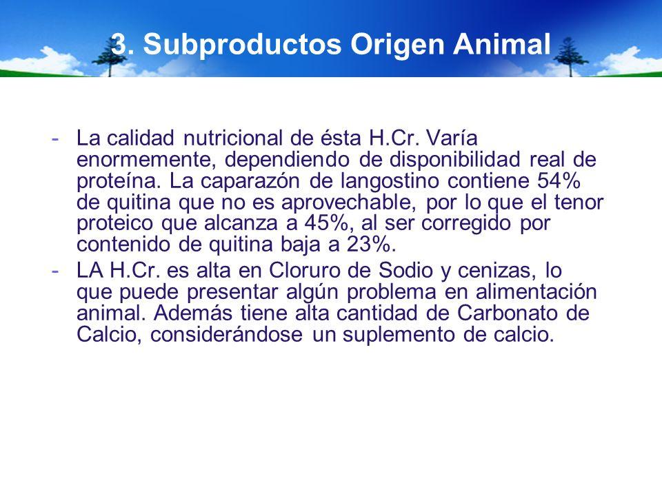 3. Subproductos Origen Animal -La calidad nutricional de ésta H.Cr. Varía enormemente, dependiendo de disponibilidad real de proteína. La caparazón de